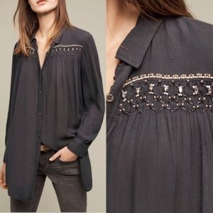 ANTHRO | floreat oversized gray beaded tunic top S